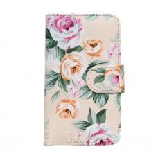 Чехол книжка для Samsung J100 цветочный узор на зеленом, розовом, красном, белом фоне
