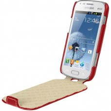 Чехол-флип кожаный для Samsung S7562 Galaxy S Duos красный производства Vetti Craft
