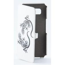 Чехол-книжка кожаный для Samsung Galaxy A5 A500H белый с рисунком