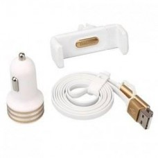 Baseus Charging Kit 3in1 2.4A with Car Holder White