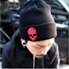 Шапка Skull Красный Череп Черная