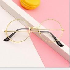 Имиджевые очки круглые с прозрачными стеклами - Золотые