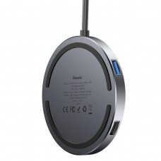 USB хаб Baseus Circular Mirror Wireless Charger intelligent HD HUB темно-сірий WXJMY-A0G