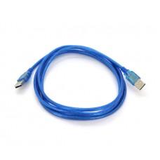 Кабель USB 2.0 папа папа AM - AM RITAR 1.8m прозорий синій