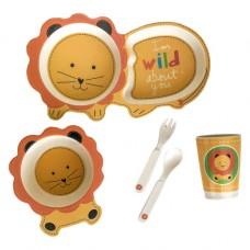 Детская бамбуковая посуда Львенок набор из 5 предметов BP3