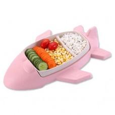Детская бамбуковая посуда Самолет, двухсекционная тарелка с подставкой BP15 Airplane Pink