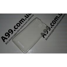 Бампер накладка силиконовая Lenovo A1900 бело-прозрачная