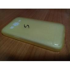 Бампер Samsung G360 чехол-накладка силиконовая желтая полупрозрачная рифленая S