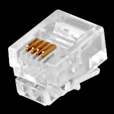 Коннекторы телефонные RJ11 4P4С 100 штук